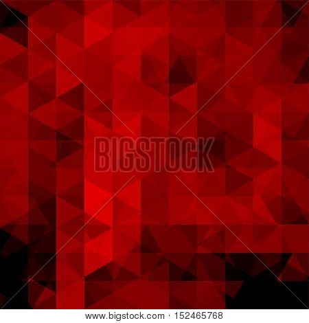Background Of Red, Black Geometric Shapes. Abstract Triangle Geometrical Background. Mosaic Pattern.