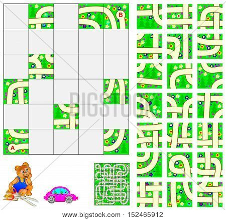 Logic puzzle with labyrinth. Cut the squares and place them correctly. Need to pass by car through from point A to Point B. Vector image.