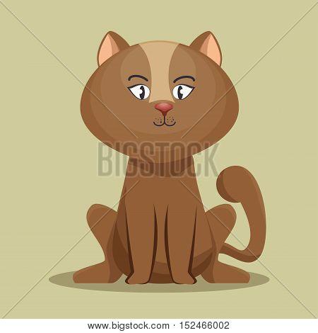 lovely kitten brown sit icon vector illustration eps 10