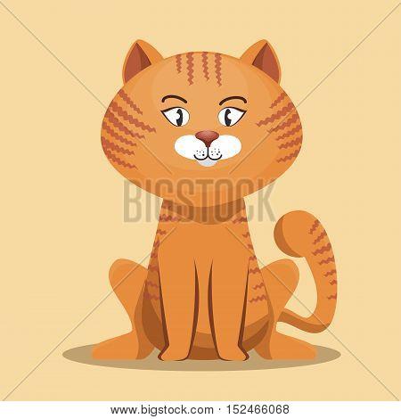 striped cat cartoon design vector illustration eps 10