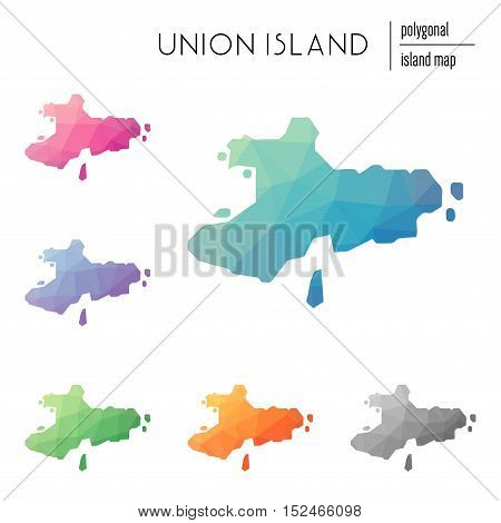 Set Of Vector Polygonal Union Island Maps Filled With Bright Gradient Of Low Poly Art. Multicolored