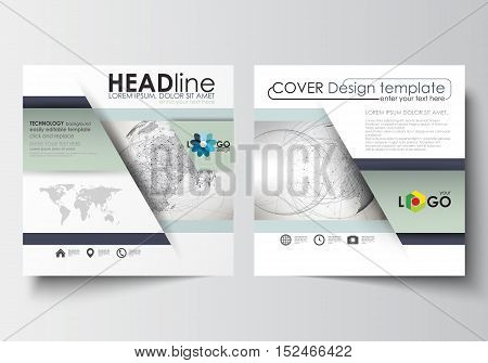 Business templates for square design brochure, magazine, flyer, booklet or annual report. Leaflet cover, abstract flat layout, easy editable blank. Dotted world globe with construction and polygonal molecules on gray background, vector illustration