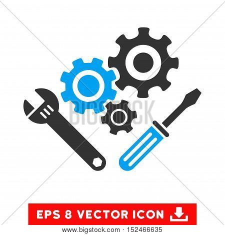 Mechanics Tools EPS vector pictogram. Illustration style is flat iconic bicolor blue and gray symbol on white background.