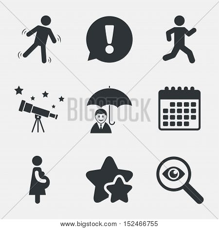 Businessman with umbrella icon. Human running symbol. Man love Woman or Lovers sign. Women Pregnancy. Life insurance. Attention, investigate and stars icons. Telescope and calendar signs. Vector