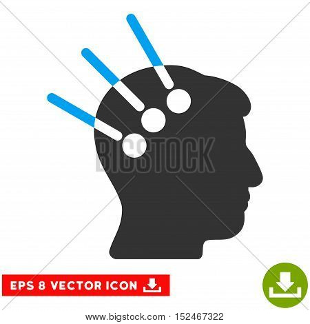 Neural Interface EPS vector icon. Illustration style is flat iconic bicolor blue and gray symbol on white background.