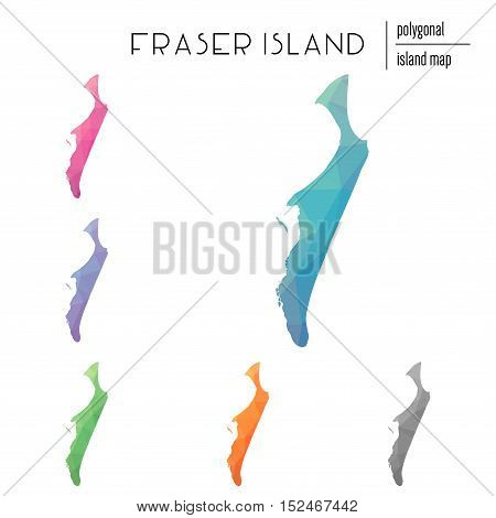 Set Of Vector Polygonal Fraser Island Maps Filled With Bright Gradient Of Low Poly Art. Multicolored
