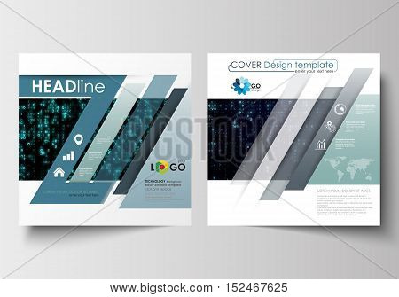 Business templates for square design brochure, magazine, flyer, booklet or annual report. Leaflet cover, abstract flat layout, easy editable vector. Virtual reality, color code streams glowing on screen, abstract technology background with symbols.