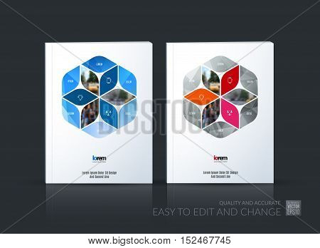 Brochure template layout collection, cover design annual report, magazine, flyer in A4 with blue rhombus, rectangle for business, flower style. Abstract vector design set.