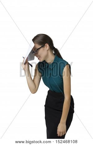 Cute young business woman with glasses in their hands, smiling face conceals documents.