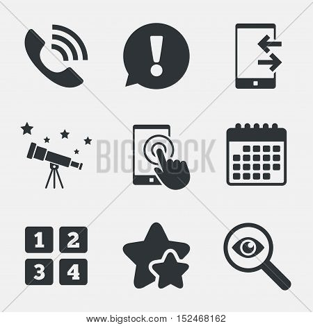Phone icons. Touch screen smartphone sign. Call center support symbol. Cellphone keyboard symbol. Incoming and outcoming calls. Attention, investigate and stars icons. Telescope and calendar signs