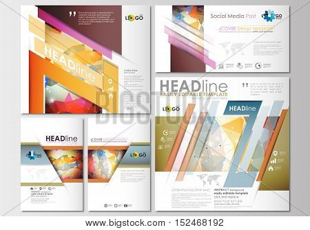 Social media posts set. Business templates. Cover design template, easy editable, abstract flat layouts in popular formats. Abstract colorful triangle design vector background with polygonal molecules.
