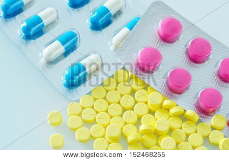 close up from medicine in different colours