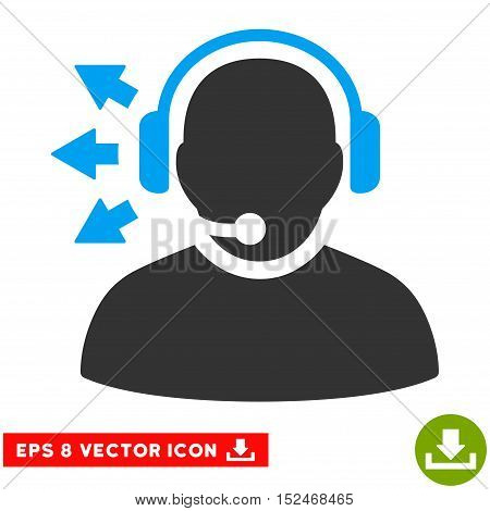 Operator Answer Speech EPS vector pictograph. Illustration style is flat iconic bicolor blue and gray symbol on white background.