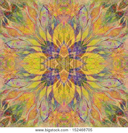 Bright seamless grunge colorful ethnic indian pattern. Collage with hand made watercolor blots petals leaves and flowers. Batik background backdrop. Boho style watercolor rude stylization