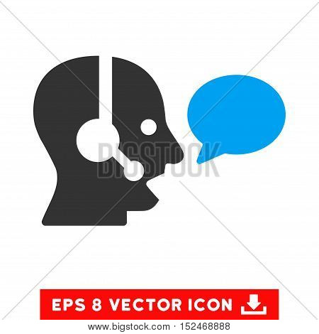 Operator Message Balloon EPS vector pictogram. Illustration style is flat iconic bicolor blue and gray symbol on white background.