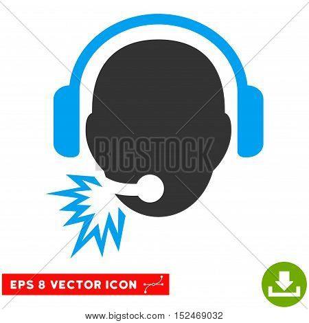 Operator Message EPS vector pictograph. Illustration style is flat iconic bicolor blue and gray symbol on white background.