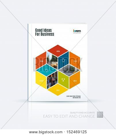 Brochure template layout, cover design annual report, magazine, flyer in A4 with colorful rhombus, rectangle for business and consulting, construction concept. Abstract vector design.