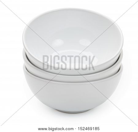 Little White Ceramic Bowls For Food Products, Isolated On White Background, Close-up.