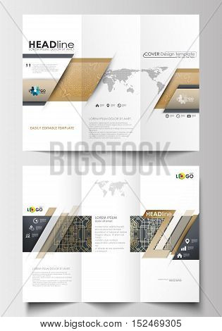 Tri-fold brochure business templates on both sides. Easy editable abstract layout in flat design. Golden technology background, connection structure with connecting dots and lines, science vector.