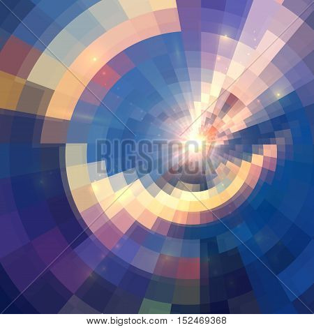 Blue and yellow colors concentric shining mosaic vector abstract background