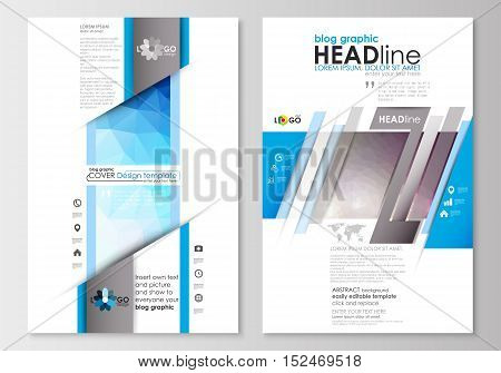 Blog graphic business templates. Page website design template, easy editable, abstract flat layout. Abstract triangles, blue triangular background, colorful polygonal pattern.