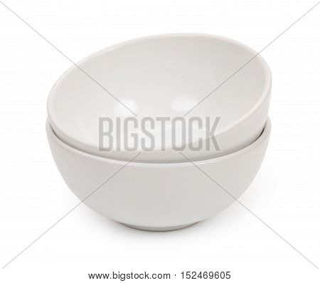 Little Round White Ceramic Bowls For Food Products, Isolated On White Background, Close-up.