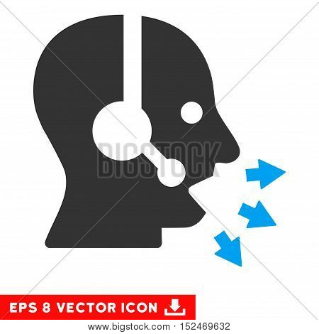 Operator Speak EPS vector pictograph. Illustration style is flat iconic bicolor blue and gray symbol on white background.