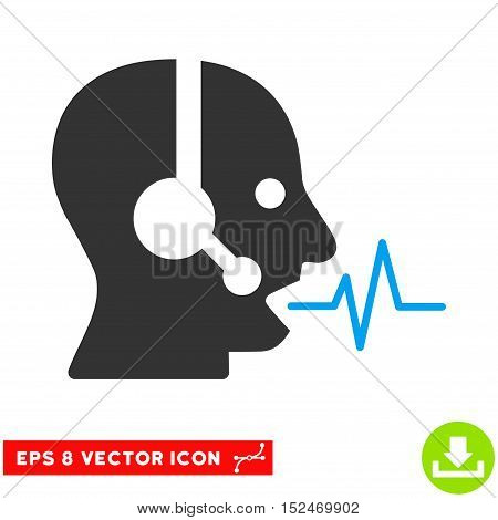 Operator Speech EPS vector pictogram. Illustration style is flat iconic bicolor blue and gray symbol on white background.