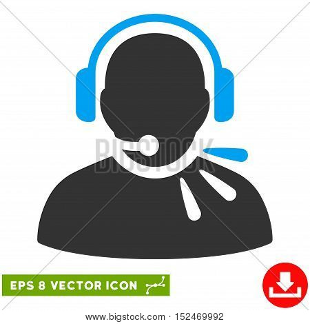 Operator Speech EPS vector pictograph. Illustration style is flat iconic bicolor blue and gray symbol on white background.