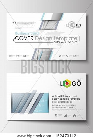 Business card templates. Cover design template, easy editable blank, abstract flat layout. Abstract blue or gray business pattern with lines, modern stylish vector texture.