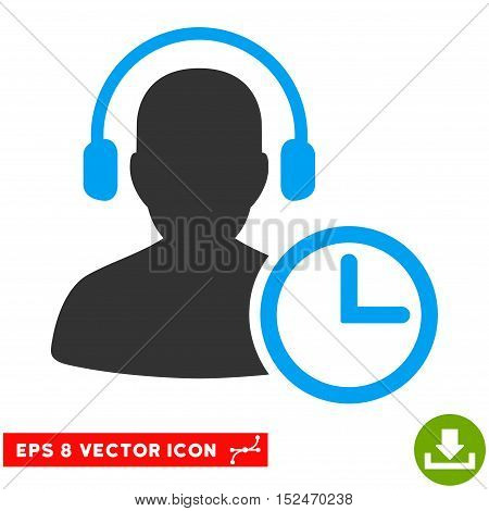 Operator Time EPS vector pictogram. Illustration style is flat iconic bicolor blue and gray symbol on white background.