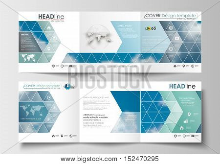 Set of business templates for tri-fold brochures. Square design. Leaflet cover, abstract blue flat layout, easy editable blank, vector illustration.