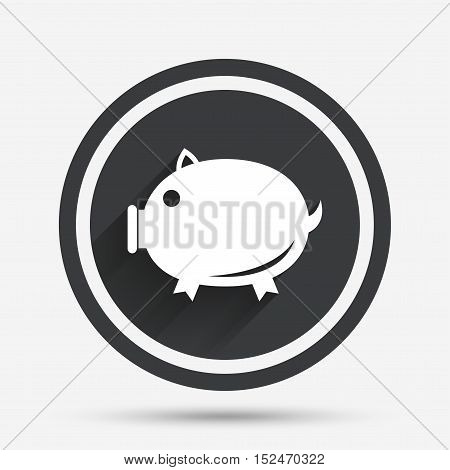 Piggy sign icon. Pork symbol. Circle flat button with shadow and border. Vector