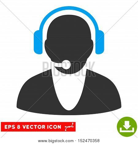Operator EPS vector icon. Illustration style is flat iconic bicolor blue and gray symbol on white background.