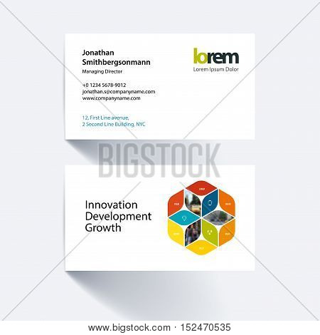 Vector business card template with colourful rhombus, rectangle for business and consulting and science concept. Simple and clean design. Creative corporate identity layout.
