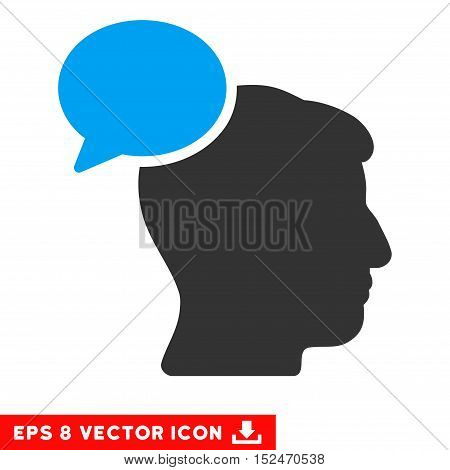 Person Idea EPS vector pictograph. Illustration style is flat iconic bicolor blue and gray symbol on white background.