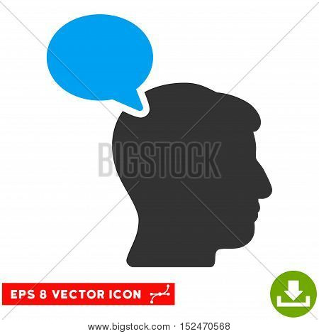 Person Opinion EPS vector pictograph. Illustration style is flat iconic bicolor blue and gray symbol on white background.