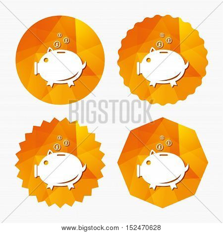 Piggy bank sign icon. Moneybox symbol. Triangular low poly buttons with flat icon. Vector