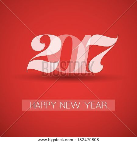 Happy New Year Greeting Card, Creative Design Template - 2017