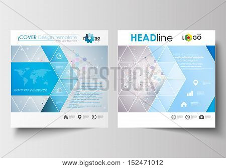 Business templates for square design brochure, magazine, flyer, booklet or annual report. Leaflet cover, abstract flat layout, easy editable blank. Molecule structure on blue background. Science healthcare background, medical vector.
