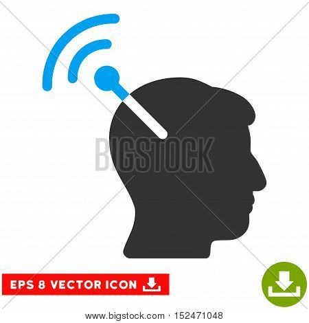 Radio Neural Interface EPS vector pictograph. Illustration style is flat iconic bicolor blue and gray symbol on white background.