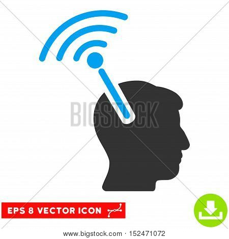 Radio Neural Interface EPS vector pictogram. Illustration style is flat iconic bicolor blue and gray symbol on white background.