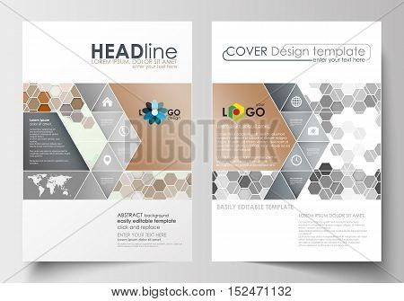 Business templates for brochure, magazine, flyer, booklet or annual report. Cover design template, easy editable blank, abstract flat layout in A4 size. Abstract gray color business background, modern stylish hexagonal vector texture.