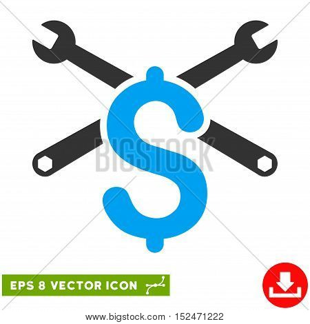 Repair Service Price EPS vector pictogram. Illustration style is flat iconic bicolor blue and gray symbol on white background.