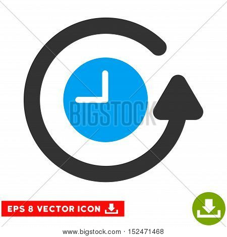 Restore Clock EPS vector pictograph. Illustration style is flat iconic bicolor blue and gray symbol on white background.