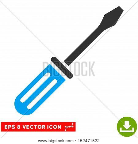 Screwdriver EPS vector pictogram. Illustration style is flat iconic bicolor blue and gray symbol on white background.