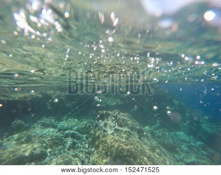 Beautiful Day Under Water in Hydra Greece