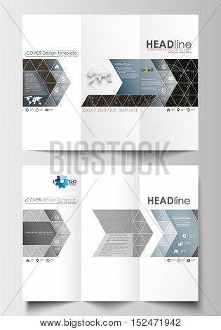 Tri-fold brochure business templates on both sides. Easy editable abstract layout in flat design. Abstract 3D construction and polygonal molecules on gray background, scientific technology vector.