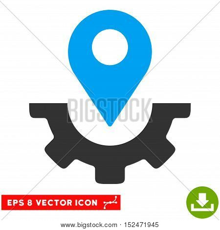 Service Map Marker EPS vector pictogram. Illustration style is flat iconic bicolor blue and gray symbol on white background.
