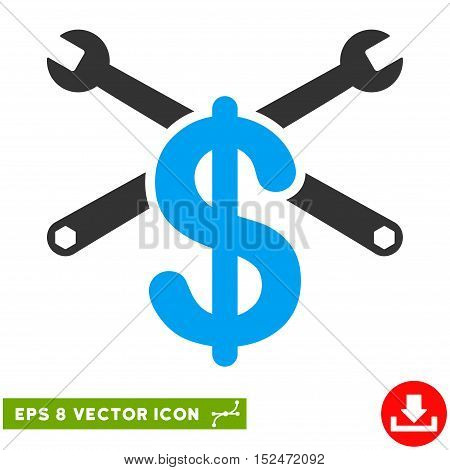 Service Price EPS vector icon. Illustration style is flat iconic bicolor blue and gray symbol on white background.